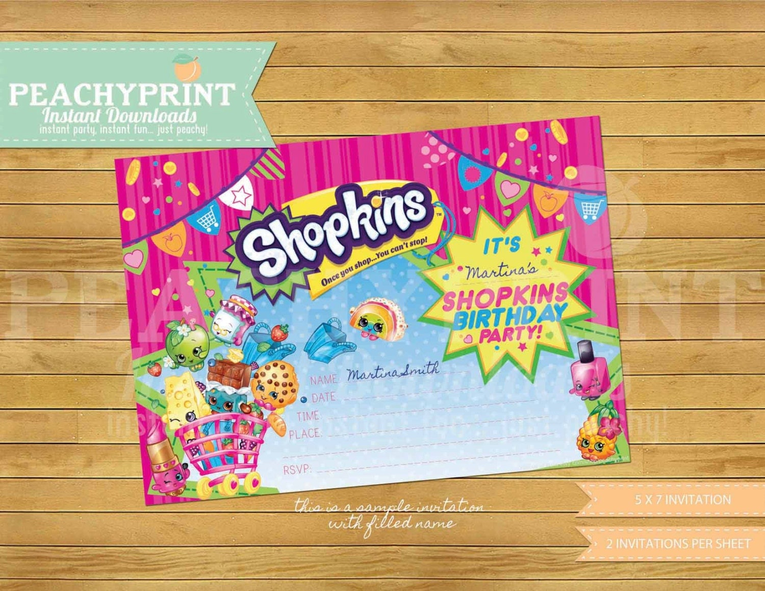 Shopkins birthday invitation instant download by peachyprint