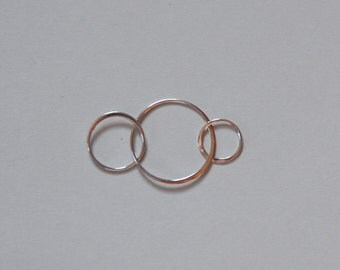 Sterling Silver, Infinity Rings, Silver Circles, Triple circles, Circle Links, Three Circles, Charm, Pendant, 38mm, Fast Shipping from USA