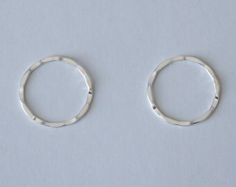 Sterling Silver, Silver Circle, Hammered Circle, One Piece, Circle Link, Circle Pendant, 21mm, Fast Shipping from USA