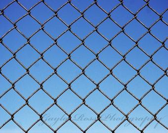 Chain Link Fence Photo, Ball field photo, Boys room decor, Man Cave Decor, Rustic, Baseball field, Blue Sky,Urban, Industrial Photo