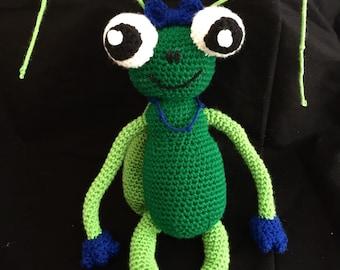 Amigurumi cricket stuffed bug, stuffed animal bug, cricket plushie, plush cricket, crochet bug, crochet cricket, bug friend