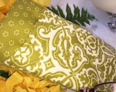 Double Glasses Case, Quilted Rays of Stitching, Yellow/Green Damask, Double Sunglass Case, Protective Padded Center Divider, Slip Style