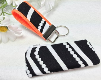 Neon Orange Mini Key Fob and Zipped Lipstick Coin Purse Essential Oil Case Black & White Earbuds Headphones Case Mother's Day Gift