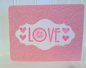 Valentine's Day card, embossed hearts card, hand-stamped Valentines card