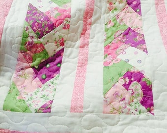 A Little Romance Pink and Purple Braid Baby Toddler Quilt - 45 inch by 52 inch