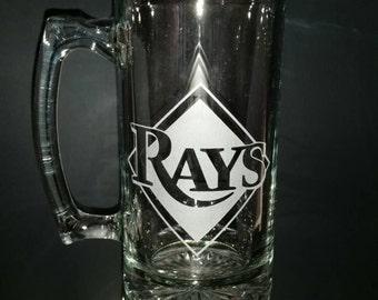 Tampa Bay Rays Sand Carved Glass Mug
