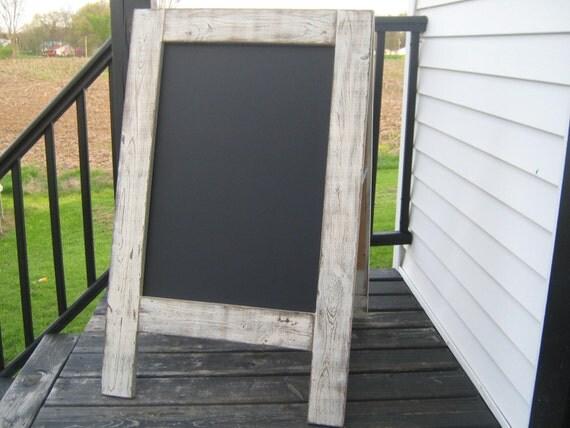 Rustic sidewalk chalkboard sandwich chalkboard white weathered reclaimed wedding chalkboard easel A frame double sided