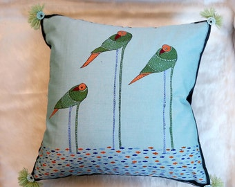 Arty Hand Painted 12 X 12 Bird Cushion Cover