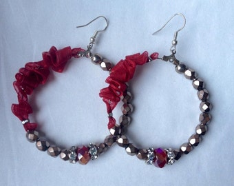 Handmade hoop earrings beads and ribbon