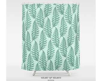 Shower Curtain, Botanical Leaves Shower Curtain, Leaf Shower Curtain, Modern Bathroom Decor
