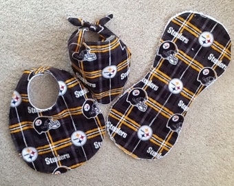 NFL Pittsburg Steelers bib, burp cloth, and bandana set