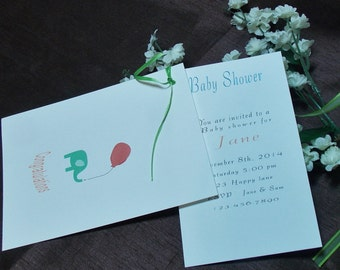 set Baby shower invitation cards with envelops