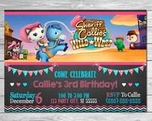 Sheriff Callie Invitation Chalkboard // Sheriff Callie Birthday Party // Sheriff Callie Party Favors