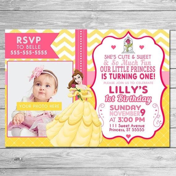 ON SALE Beauty and the Beast Invitation Photo Invite / Beauty and the Beast Birthday Party // First Birthday Invite // Princess Belle Invite