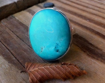 Turquoise Ring Greenish Blue Turquoise Ring Sterling Silver bezel set Turquoise Ring Big Statement Oval Turquoise Ring Chic Size 8,9,10,10.5