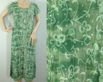 70s Green Beaded Chiffon Layering Dress • Size Small • Vintage 1970s Embroidery Sequin & Crochet Layer Dress [D]