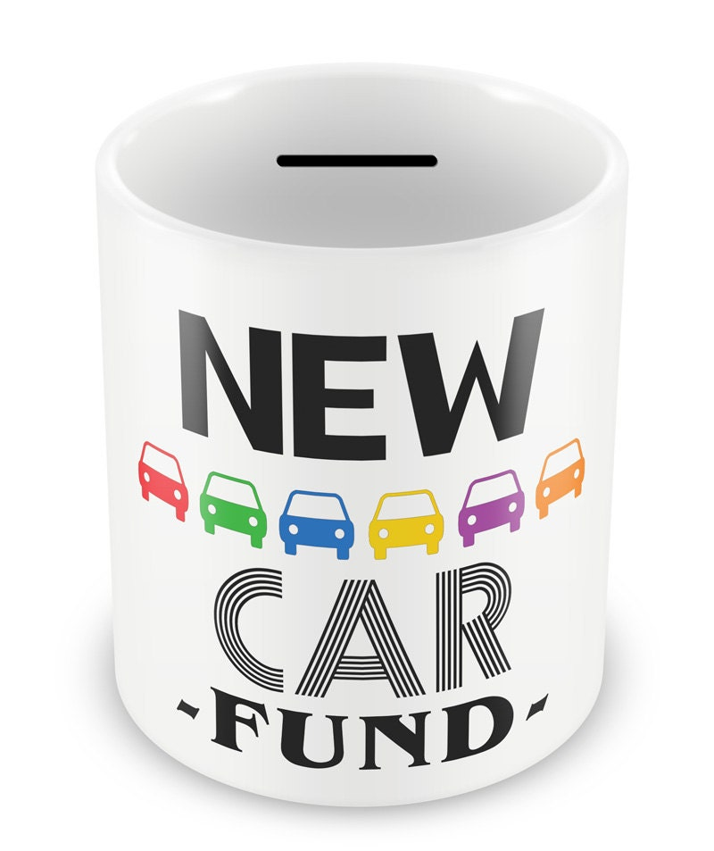 new car fund money box piggy bank savings car travelling. Black Bedroom Furniture Sets. Home Design Ideas