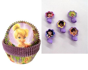 12 Tinkerbell Baking Cups and Tinkerbell Plastic Rings