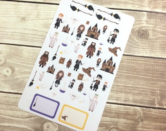 The Wizard Stickers! 1 sheet, for your Erin Condren Life Planner, Plum Planner,  Filoflax, calendar or scrapbook!