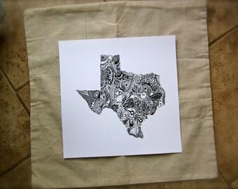 Texas State Print/Texas Outline Art