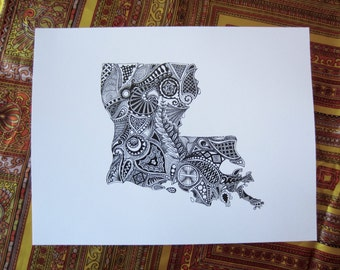 Louisiana State Art/Louisiana Outline Art Print