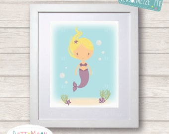 Mermaid in the sea,orange, Childrens / Art Nursery Print,  Wall Decor,  Wall Art. Can be personalized with a name.