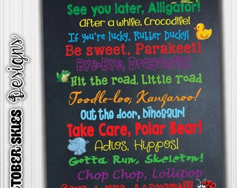 See You Later Alligator, Custom- Subway art, Poster-Childrens Quotes, Rhymes, INSTANT DOWNLOAD- Chalk Art