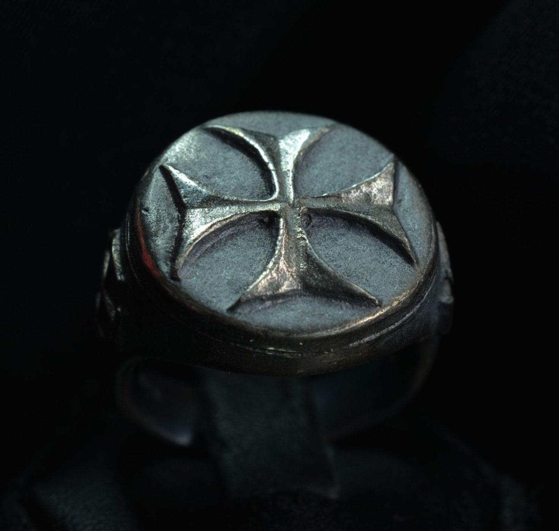 silver sterling 925 templar masonic ring knights
