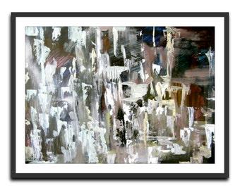 Cold city . Modern art poster. Wall art decor. White black brown art.