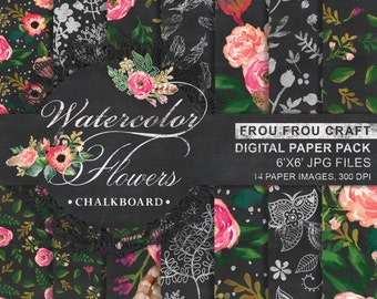 Watercolor Chalkboard Flower Digital Paper Pack Instant Download Blackboard Texture Floral Romantic Black Chalk Personal Use 6x6 inches