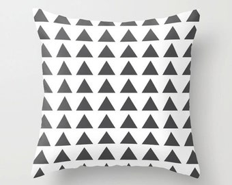 Triangles cushion cover, dark gray on white, modern design decorative throw pillow, accent home decor