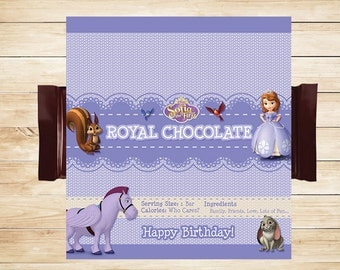 Sofia the First Candy Bar Wrappers Purple // Sofia the First Candy Wrappers // Sofia the First Party Favor // Sofia the First Party