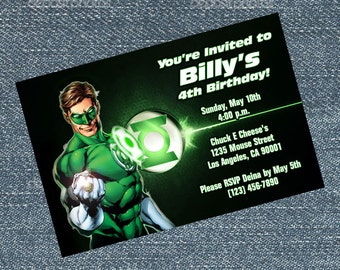 Green Lantern Invitations - personalized for your birthday