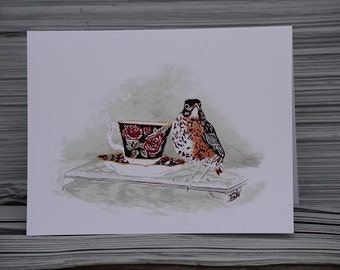 Tea Time with baby Robin Greeting card