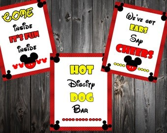 mickey mouse birthday sign - INSTANT DOWNLOAD - 8x10 inches / come inside it's fun inside / we've got ears say cheers / hot diggity dog bar