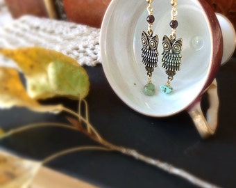 It's-A-Hoot - Rustic gold owls with turquoise dangles