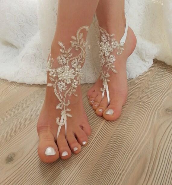 Ivory Gold Frame Pearl Beaded Beach Wedding Barefoot
