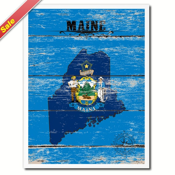 Maine Flag State Map Modern Style Colorful Art By