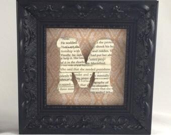 small framed letter framed m book lover gift vintage books wood wall letter bookshelf decor nursery letter personalized gift
