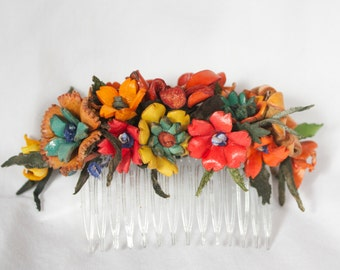 Handmade Leather Flower Hair Corsage - Autumn colors