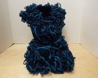 Crochet Ruffled Scarf, Handmade Blue / Turquoise Crochet Ruffle Scarf with Blue Accent