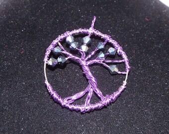 Tree of Life Pendant, Wire Wrapped Tree Pendant, Handmade Black Swarovski Crystal and Purple Wire Tree Necklace Charm