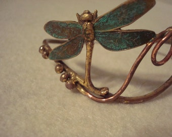 Copper and Brass Bracelet with Butterfly