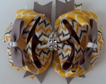 Yellow and Gray Chevron Bling Hair Bow