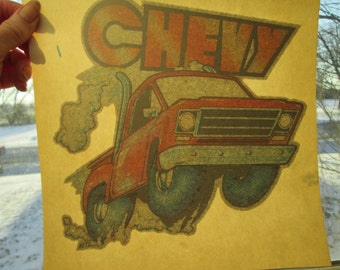 Chevy pickup truck vintage 1970s iron on decal