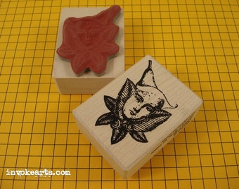 Mini Lily Flower Face Stamp / Invoke Arts Collage Rubber Stamps
