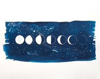 Lunar Moon Phases CYANOTYPE Original Fine Art