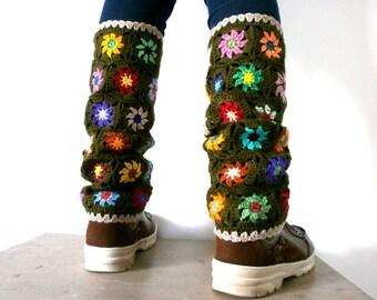 Leg warmers crochet granny multicolored flowers on khaki green background