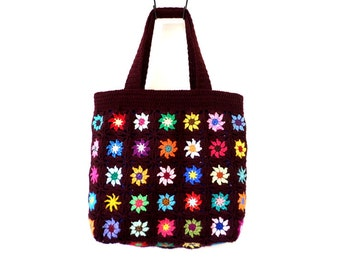 Multicolored flowers and dark bordeaux vintage crochet bag
