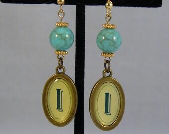 """Turquoise """"I"""" Earrings"""